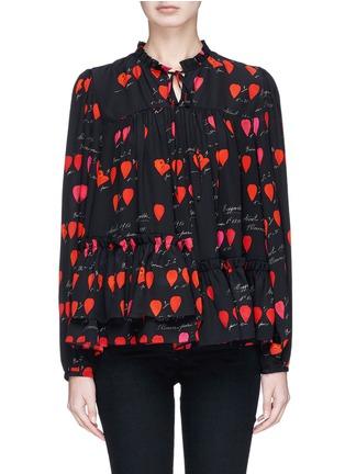 Main View - Click To Enlarge - Alexander McQueen - Asymmetric ruffle petal print silk blouse