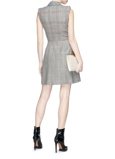 Alexander McQueen Houndstooth check plaid panelled wool mini suiting dress