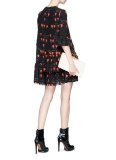 Alexander McQueen Asymmetric ruffle petal print silk dress
