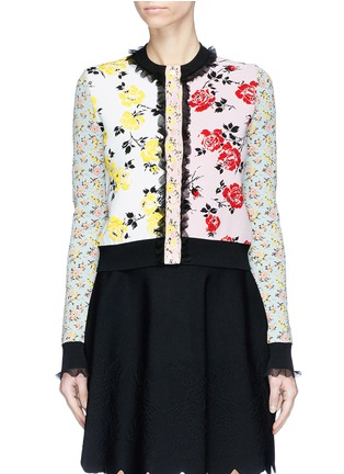 Main View - Click To Enlarge - Alexander McQueen - Ruffle trim floral jacquard patchwork cropped cardigan