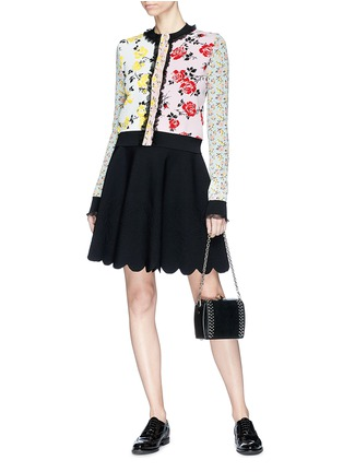 Figure View - Click To Enlarge - Alexander McQueen - Ruffle trim floral jacquard patchwork cropped cardigan