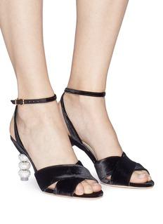 Sophia Webster 'Natalia' crystal pavé heel velvet sandals