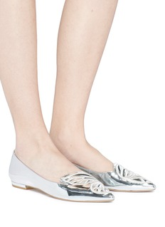 Sophia Webster 'Bibi Butterfly' wing embroidered mirror leather flats