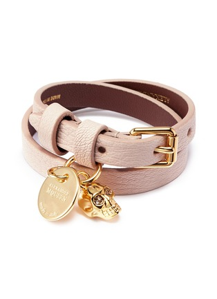 Main View - Click To Enlarge - Alexander McQueen - Skull charm double wrap leather bracelet