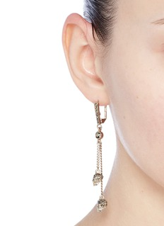 Alexander McQueen Swarovski crystal skull chain earrings