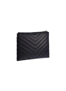 SAINT LAURENT 'Monogram' matelassé grain de poudre leather zip wallet
