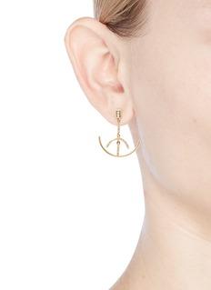 Xiao Wang 'Gravity Balance' diamond 14k yellow gold mismatched earrings