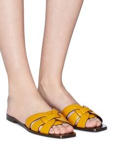 SAINT LAURENT 'Nu Pied' interlocking cage calfskin leather slide sandals