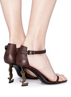 SAINT LAURENT Opyum 85品牌名称造型鞋跟小牛皮凉鞋