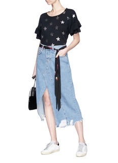 Current/Elliott 'The Recrafted' split hem ripped denim skirt