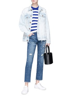 Current/Elliott 'The Boyfriend' faux pearl embellished denim jacket