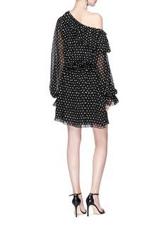 SAINT LAURENT Polka dot print one-shoulder chiffon dress