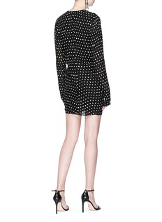 SAINT LAURENT Ruffle front polka dot print crepe dress