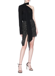 SAINT LAURENT Knotted sash drape polka dot print chiffon mini skirt