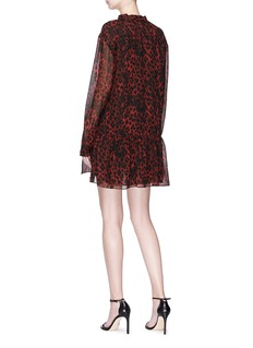 SAINT LAURENT Neck tie leopard print chiffon mini dress