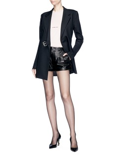 SAINT LAURENT Pleated front leather shorts
