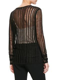 SAINT LAURENT 镂空设计条纹针织衫