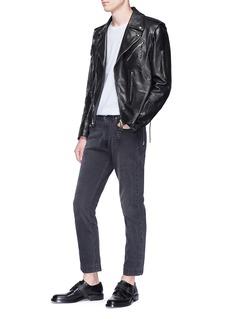 Alexander McQueen Detachable sleeve calfskin leather biker jacket