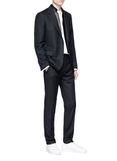 Alexander McQueen Detachable lambskin leather panel wool-mohair blazer