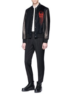 Alexander McQueen Skull embroidered lambskin leather sleeve bomber jacket