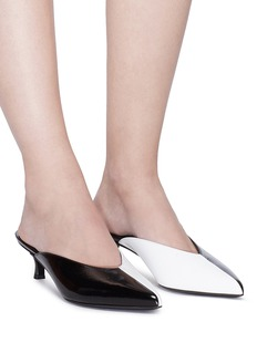 Tibi 'Frank' colourblock crinkled patent leather mules