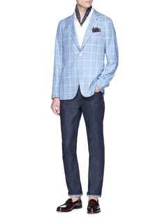 ISAIA 'Carpi' check plaid cashmere-silk blazer