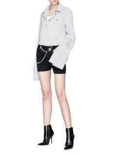 Miaou Noemie链条腰带金属孔眼棉质短裤