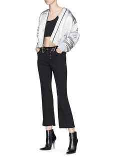 Miaou 'Morgan' belted cropped flared denim pants