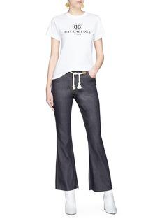 Miaou Morgan绳编腰带喇叭牛仔裤