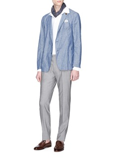 Lardini Cotton-linen chambray soft blazer