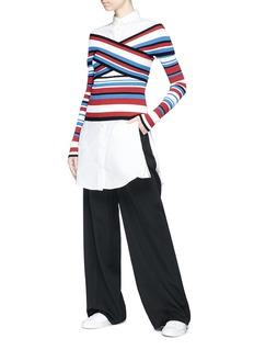 MRZ Cutout cross front stripe sweater