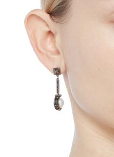 Valentino Crystal faux pearl geometric drop earrings