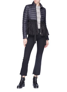Moncler 'Serpentine' tie eyelet lace peplum down puffer jacket