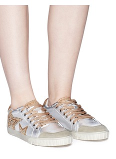 Ash 'Magic' star patch metallic leather sneakers