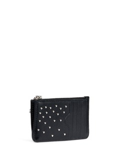 Alexander McQueen Skull zip stud leather card holder