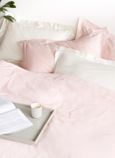 LANE CRAWFORD Contrast border queen size duvet set – Ivory