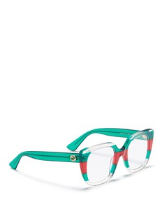Gucci Web stripe acetate square optical glasses