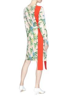 Stella McCartney Sash drape Birds of Paradise print crepe dress