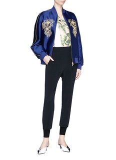 Stella McCartney 'Lorinda' graphic embroidered satin bomber jacket