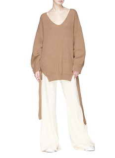 Stella McCartney Drawstring hem cashmere-wool rib knit sweater