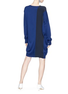 Stella McCartney Colourblock crepe panel virgin wool knit dress