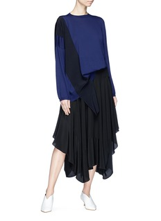 Stella McCartney Colourblock crepe sash drape virgin wool sweater
