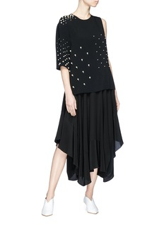 Stella McCartney Faux pearl embellished single sleeve cady top