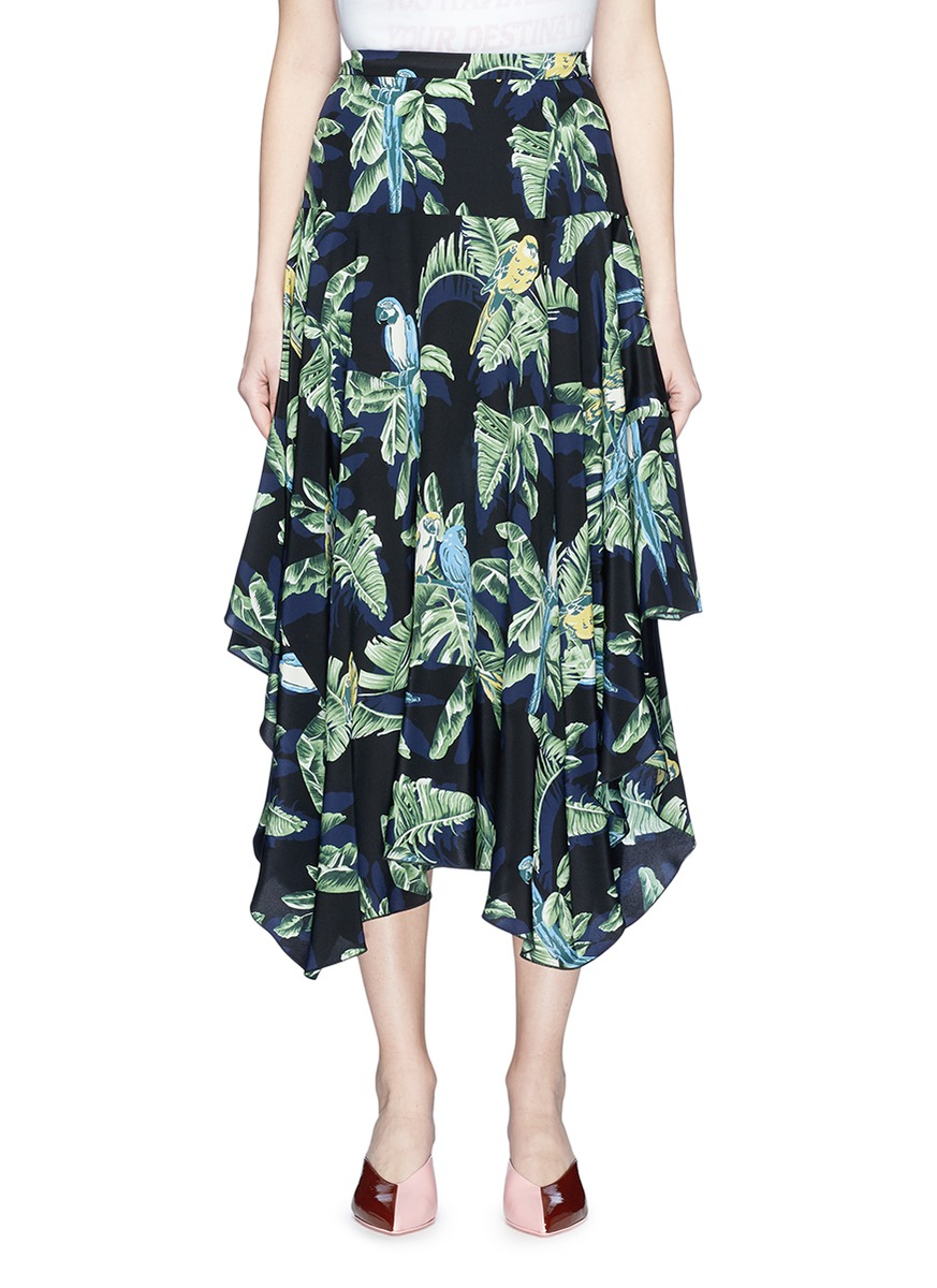 Stella McCartney Ruffle birds of paradise print crepe midi skirt ...