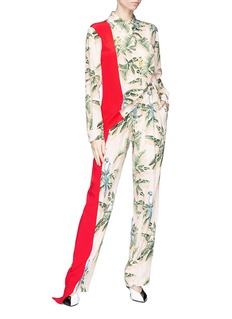 Stella McCartney 'Halle' colourblock Birds of Paradise print pants