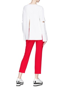 Stella McCartney Split back cutout sleeve rib knit sweater