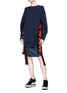 Stella McCartney 'All is Love' slogan sash ruched virgin wool sweater
