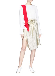 Stella McCartney 'Brynn' tie ruffle Lurex georgette mock wrap skirt
