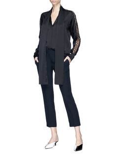 Stella McCartney 'Juliette' neck tie guipure lace sleeve silk crepe shirt