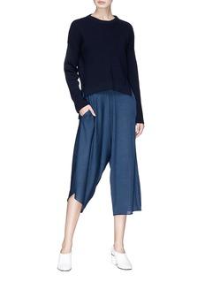 Stella McCartney Asymmetric ruched virgin wool-silk culottes